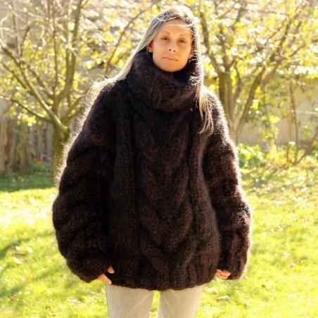 Hand Knit Mohair Sweater Dark Brown Fuzzy Turtleneck 10 strands