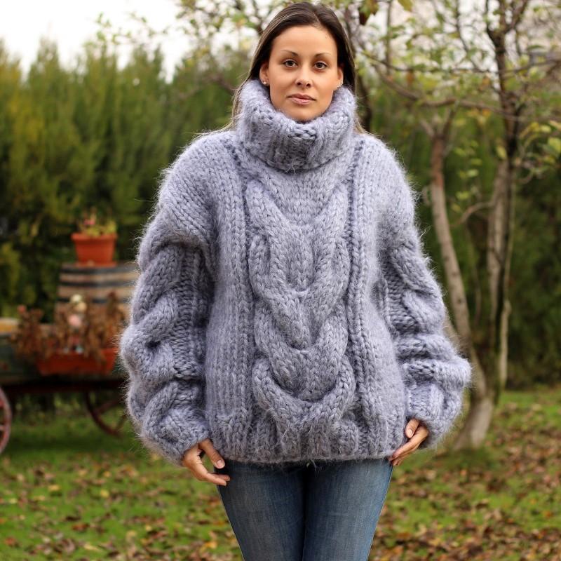 Hand Knit Mohair Sweater light gray Fuzzy Turtleneck 10 strands Handgestrickt pullover by Extravagantza