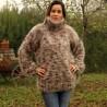 Hand Knit Mohair Sweater Brown White Mix Fuzzy Turtleneck Handgestrickt pullover