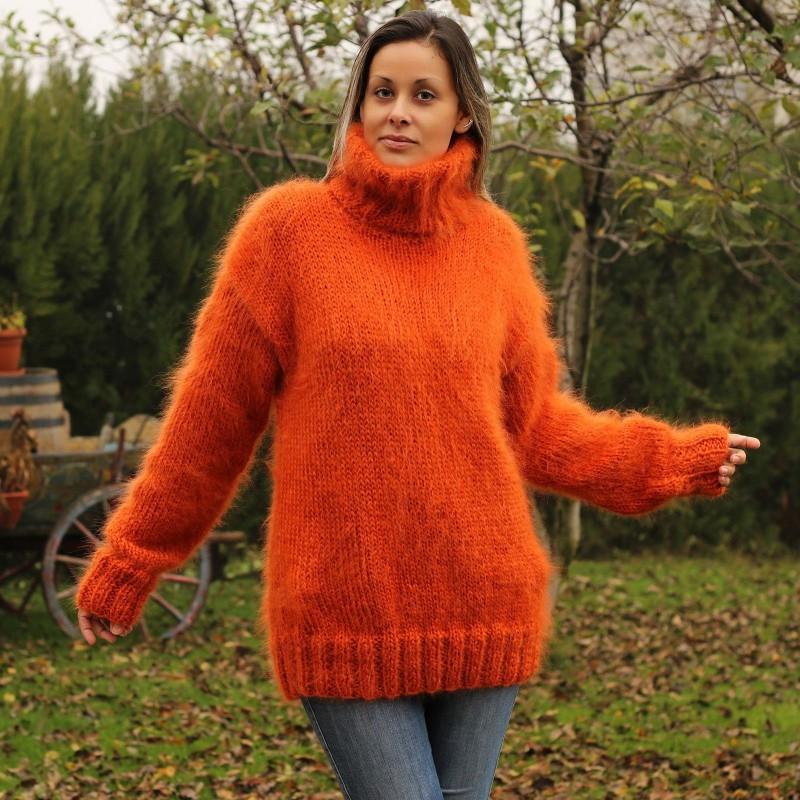 Hand Knitted Mohair Sweater orange Fuzzy Turtleneck Handgestrickt pullover by Extravagantza