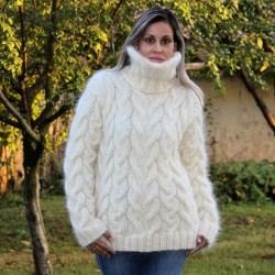 Cable Hand Knit Mohair Sweater White Fuzzy Turtleneck