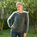 100% Pure Angora Hand Knit Cardigan Dark Green Crew Neck