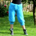 SEXY Summer Turquoise Hand Knit Mohair Pants Cable Fuzzy Leggings