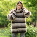 Hand Knit Mohair Sweater Striped Brown mix Fuzzy Turtleneck
