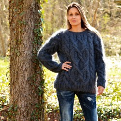 Cable Hand Knit Crew Neck Mohair Sweater Very Dark Gray Color