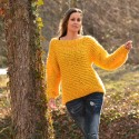 Summer Oversized Slouchy Hand Knitted 100 % Pure Wool Sweater Yellow color boat neck Jumper