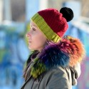 Hand Knitted Chunky Wool Green Red Black Color Pom Pom Multicolor Winter Soft Hat