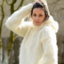 Hooded Hand Knitted Mohair Sweater White Fuzzy by Extravagantza