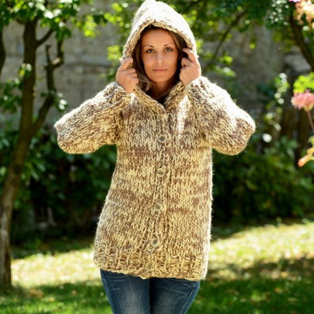 Super Thick Hand Knitted High Quality 100 % Pure Wool Hooded Cardigan Beige White mix by Extravagantza