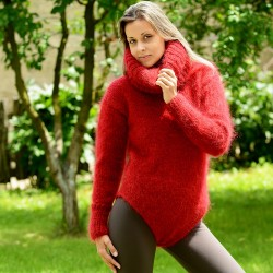 Sexy Hand Knitted Mohair Sweater Bodysuit Red Color Turtleneck