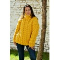 Cable Hand Knitted Chunky 100 % Pure Wool Turtleneck Sweater Yellow Pullover