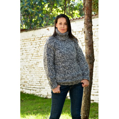 Light grey mix Hand Knitted 100 %  Wool Turtleneck Sweater Pullover Jumper