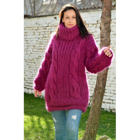 NEW Cable Hand Knitted Long Mohair Sweater Fuchsia Color Fuzzy Turtleneck Pullover